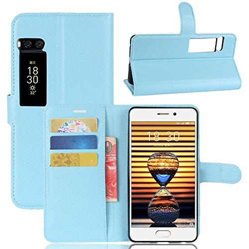 Kihying Hülle für Meizu Pro 7 Hülle Schutzhülle PU Leder Flip Wallet Fashion Geschäft HandyHülle (Blau - JFC07)