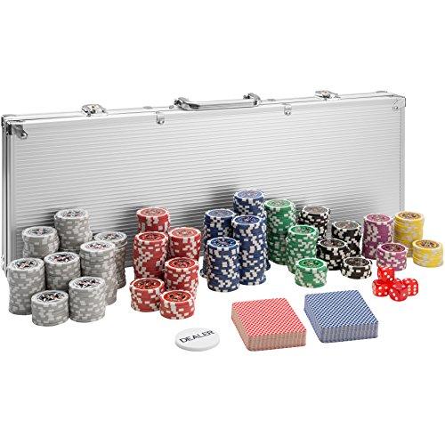 TecTake Pokerkoffer Pokerset mit 500 Pokerchips Laser Chips im Alu Koffer | Silber | inkl. 2 Kartendecks + 5 Würfel + 1 Dealer Button