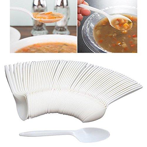 Haute qualité 60 pcs jetables écologiques, réutilisable Plastique Blanc Ensemble Cuillère à salade du désert de table – Idéal pour fête, mariage, pique-nique Couverts