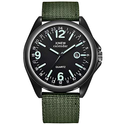good01 Montre à Quartz pour Homme avec Bracelet en Nylon et Calendrier, Vert/Noir