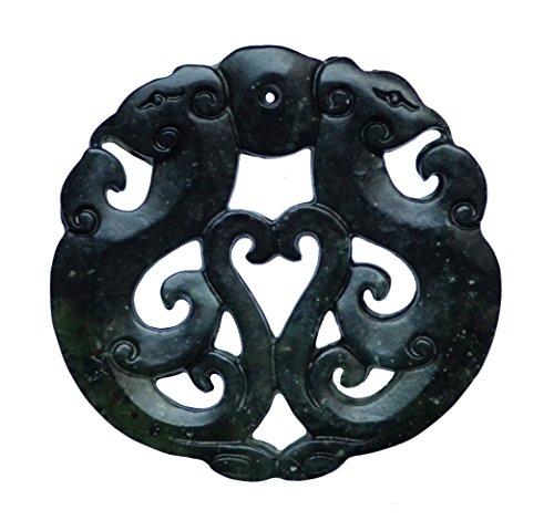 SPIRIT OF AVALON - Krafttier Amulett Phönix aus grün schwarzer Jade / Jadeit - Meditation Yoga Spiritualität