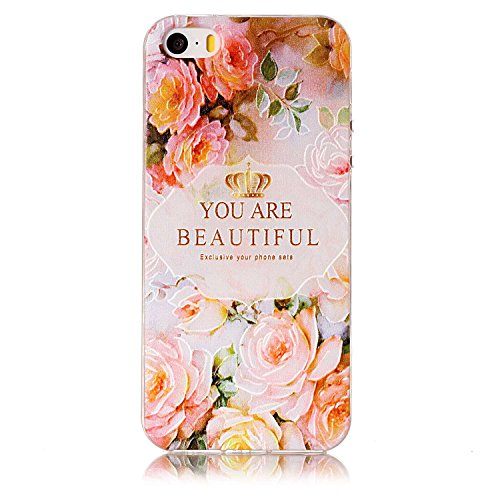 3 x Coque iPhone 5S/SE/5, MSK® Case Housse Bumper Coque de Protection TPU Silicone Gel Souple Flexible Ultra Mince Slim Léger Anti Rayure Antichoc Pour iPhone 5S/iPhone SE/iPhone 5 - dessins exquis #0 Dessins exquis #01