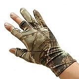 ZREAL Guanti da pesca Camouflage antiscivolo sottile guanto elastico 3 dita tagliate campeggio ciclismo caccia guanti mezze dita