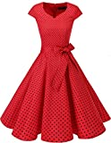 Dresstells Vintage 50er Swing Party kleider Cap Sleeves Rockabilly Retro Hepburn Cocktailkleider Red Small Black Dot XS