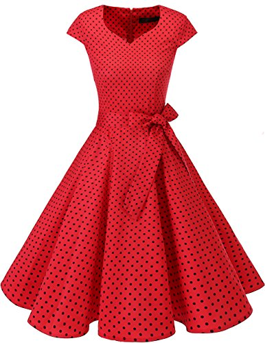 Dresstells Vintage 50er Swing Party kleider Cap Sleeves Rockabilly Retro Hepburn Cocktailkleider Red Small Black Dot - 50er Jahre Rot Kleid Kostüm