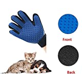 FuYang One Piece Pet Grooming Gloves, Hair Remover Mitts Massage Bath Brush Gloves for Dogs & Cats with Long-Haired and Short-Haired (Blue+Black, Right Hand)