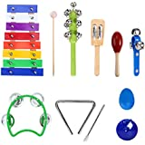 TOYMYTOY Baby Wooden Musical Instruments Set Kids Percussion Rhythm Band Toy With Carrying Bag