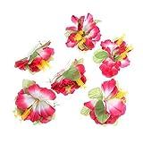 BESTOYARD Hibiscus Fleur Cheveux Clips Hawaïen Plage Tropicale de Mariage Accessoires de Cheveux 6 Pièces (Rose)