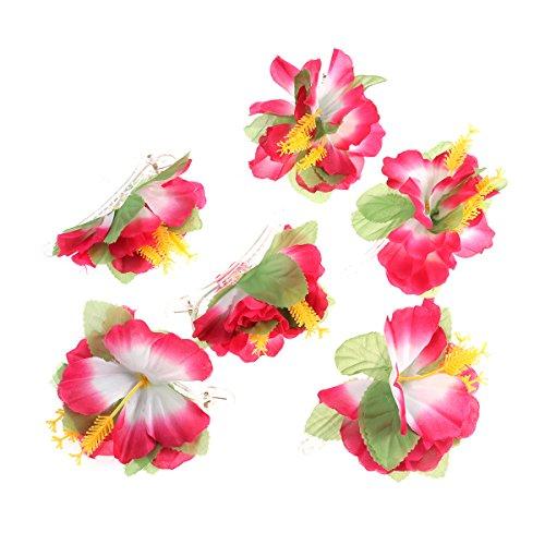 BESTOYARD-Hibiscus-Flower-Hair-Clips-Hawaiian-Tropical-Beach-Wedding-Party-Accesorios-para-el-cabello-6-Piezas-Rosado