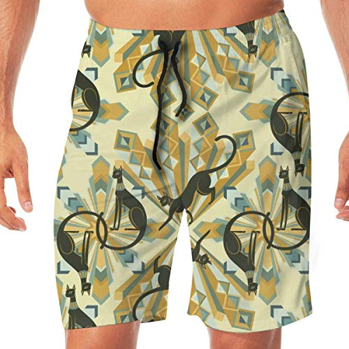 KLYDH Art Deco Cats in Gold Fat Quarter Size_1914 Mens 3D Printed Swim Trunks Quick Dry Summer Beach Sports Running Shorts(L) (Board Gold Banana)