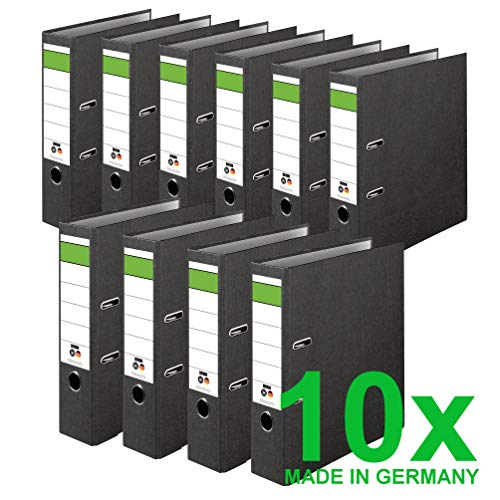 DINOR Ordner-Wolkenmarmor-Recycling - Das Original - Made in Germany. 10er Pack 8 cm breit DIN A4 schwarz Aktenordner Briefordner Büroordner Pappordner Schlitzordner Grüner Balken Blauer Engel