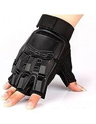 West Ciclismo sin dedos guantes tácticos militares guantes de ciclismo de caza Negro negro Talla:CN-XL(UK-L)
