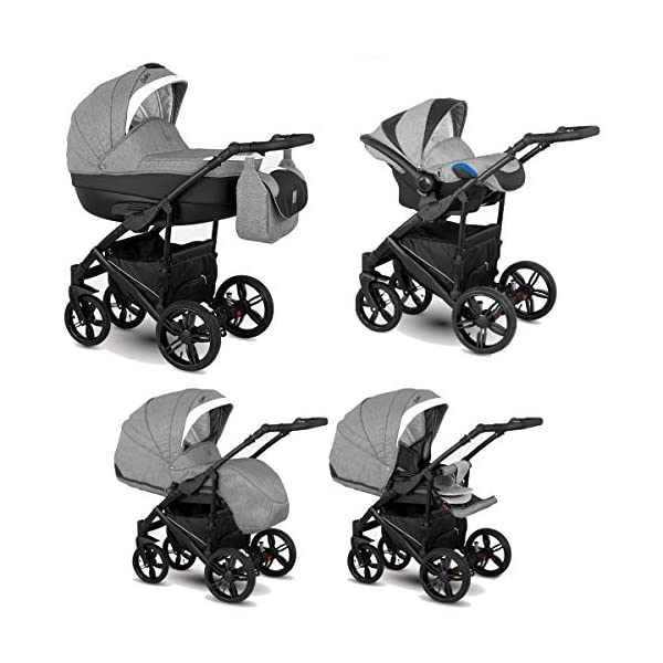 Lux4Kids Stroller Pram 2in1 3in1 Isofix Car seat 12 Colours Free Accessories Leo Grey Snow BA-5 4in1 car seat +Isofix Lux4Kids Lux4Kids Leo 3in1 or 2in1 pushchair. You have the choice whether you need a car seat (baby seat certified according to ECE R 44/04 or not). Of course the car is robust, safe and durable Certificate EN 1888:2004, you can also choose our Zoe with Isofix. The baby bath has not only ventilation windows for the summer but also a weather footmuff and a lockable rocker function. The push handle adapts to your size and not vice versa, the entire frame is made of a special aluminium alloy with a patented folding mechanism. 1