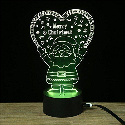 Luz de noche ahorro de energía LED de la cabecera del USB 3D de Santa Claus , 0.5