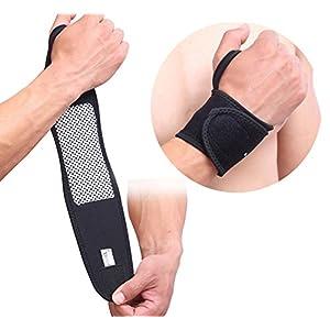 2 Packungen selbstheizende magnetische Handgelenkbandage verstellbar Schutz für Arbeiten, Radfahren, Laufen, Sport für Männer und Frauen, Einheitsgröße (schwarz)