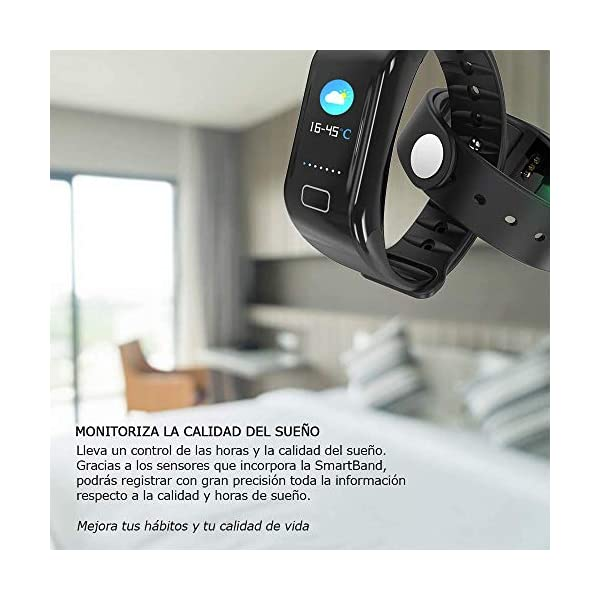 NK Pulsera de Actividad Inteligente Smartband-02, Frecuencia cardíaca, Monitor del sueño, Resistencia al Agua IP67, Podómetro, Color Negro 7