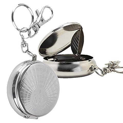 Cig-U Portable Mini Cendrier - Acier inoxydable - Avec anneau clé - Cigarette Rest - 2 Pcs