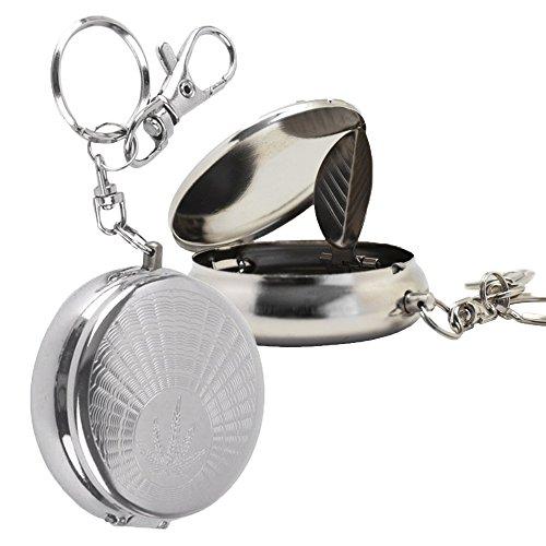 Meta-U tragbare Mini Aschenbecher - Edelstahl - mit Schlüsselanhänger - Zigarettenstütze - 2 Stück (Als Aschenbecher Schlüsselanhänger)