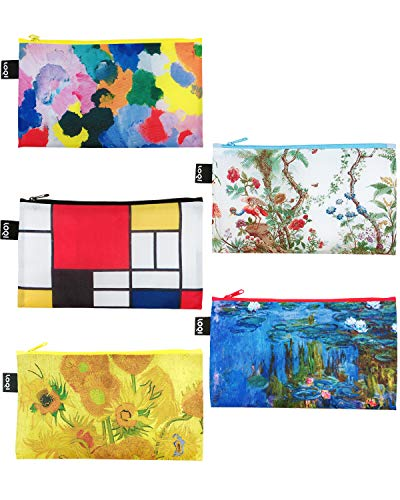 LOQI Museum Reißverschlusstaschen (5-er Set) Irisches Gedicht, Composition, Chinesisches Dekor, Seerosen, Sonnenblumen