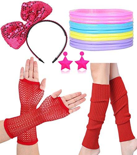 et Beinwärmer Fischnetz Handschuh Ohrring Stirnband Armband und Bead (Fischnetz Leggings Kostüm)