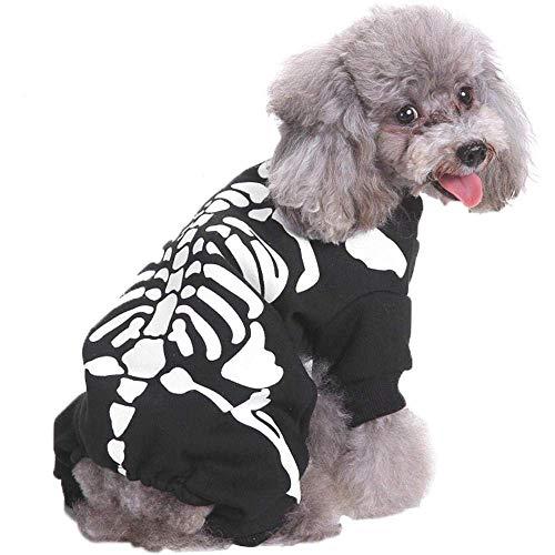 UTOPIAY Halloween Hundekostüm, Super Cosplay Skelett Kleidung für Hunde, Halloween Karneval Festival Dekoration Horror Skelett (Macht Ein Skelett Kostüm)