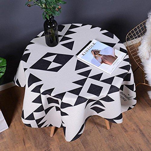 Leinen Tischdecke Weiße Quadratische (Schwarze und weiße geometrische Tischdecken Einfache und moderne Baumwolle Leinen quadratisch runden Tisch Couchtisch Staub Tuch , 001 , 140*140cm)
