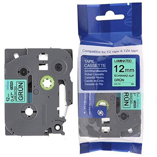 Unistar Schriftband für Brother Tze-731 12mm Breit 8m Länge Kompatibel zu Tze-731/Label Tape /Label cassette/laminierfolien/2 Jahre Garantie. (1xSchwarz auf Grün)
