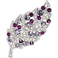 lumanuby aleación de broche flor broche de moda para boda chal para amante regalo de Navidad Color Morado, Aleación, Colorful Leaf, 5.6*2.7cm