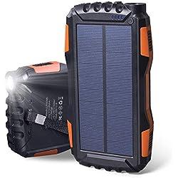 Soluser Chargeur Solaire, 25000mAh Batterie Externe Power Bank avec Deux Ports USB et des Lumières LED Super Puissantes Ldéal pour Charge Portable pour iPhone, iPad, Samsung, Nexus et Autres