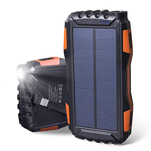 Soluser Chargeur Solaire, 25000mAh Batterie Externe Power Bank avec Deux Ports USB et des Lumières LED Super...