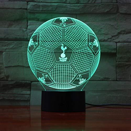 Fc Tottenham Hotspur 3D Illusion Led Night Light Garçons Enfants Bébé Cadeaux De Football Premier League Équipe De Football Table Lampe De Chevet
