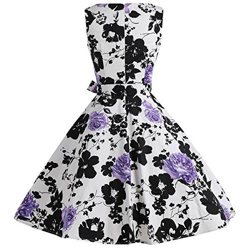 Find Dress Vintage années 50 's Style Audrey HepburnRockabilly Swing, Robe de soirée cocktail Blanc Lilas
