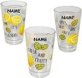 12 tlg. Set - Trinkgläser - ' Zitronen & Früchte ' - incl. Name - 310 ml - aus Glas - Gläserset - Cocktailgläser - bunt / Sommergläser - 12 teilig - Partybecher - Partygläser - Party / Kinder & Erwachsene - mehrweg Camping Set / Glasbecher - Cocktail Bowleset - Bowle Gläser - Longdrink - Longdrinkglas Saftgläser - Saft Trinkbecher / Becher