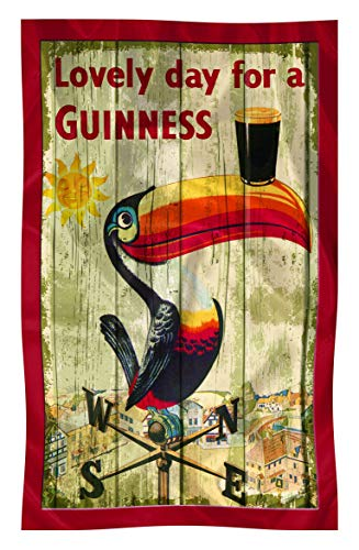 Nostalgic Guinness Cotton T-Towel With Toucan On Weathervane Design