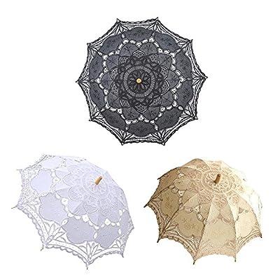 Navigatee Spitze-Regenschirm, europäischer Art-Ausschnitt-Spitze-Regenschirm-handgemachtes Brautblumen-Mädchen-Regenschirm-im Freien Sun-Sonnenschirm-Geschenk nach Maß für Hochzeit von Navigatee - Gartenmöbel von Du und Dein Garten