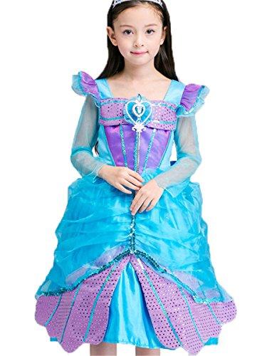 rinzessin Kostüm Cosplay Halloween Meerjungfrau Kleid Karneval Faschingskostüm Festkleid Maxi Kleid 5-6 Jahre (Meerjungfrau Halloween-kostüme Für Kleinkinder)