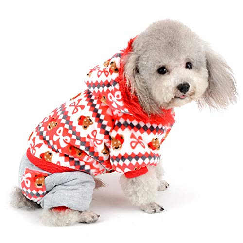 Kostüm Weihnachten Pet Holiday - SELMAI Hund Winter Coat Warm Soft Jumpsuit Small Pet Cat Weihnachten Fleece Samt Jacke Hoodie Mustern Vier Beine Weihnachts Kostüm Outfits Festive Holiday Chihuahua Kleidung, XL, Rot