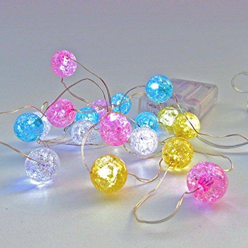 20er LED Lichterkette - biegsamer Kupferdraht mit 20 bunten Kugeln in Pastell Farben - ca. 250 cm lang - batteriebetrieben - nur 0,6 Watt gesamt - 20 x 0,03 Watt (Xx Farbe)