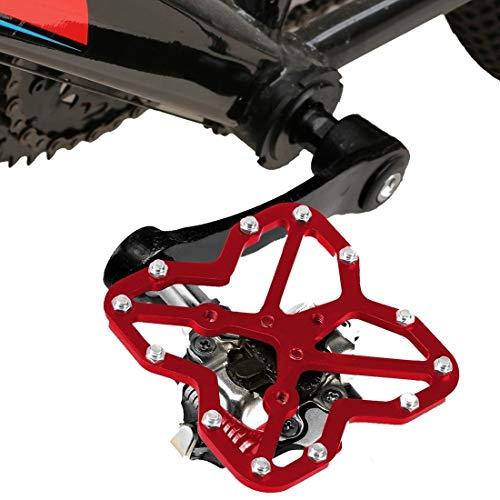 Lanbinxiang@ Vélo de Route Universel sans pédale Plate-Forme pédale Adaptateur vélo Chaussures de vélo de Montagne, Taille: 90 * 85mm sécurité (Couleur : Rouge)