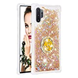 FAWUMAN Heart-shaped Liquid Sparkly Quicksand TPU Gel Silicone Shockproof Phone Cover[Diamond Colorful Ring] Cases for Samsung Galaxy Note10+ / Note10 Pro / Note10 Pro 5G