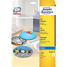 Avery Zweckform C9660-25 CD-Etiketten (A4, 50 Etiketten, hochglänzend, Ø 117 mm) 25 Blatt weiß