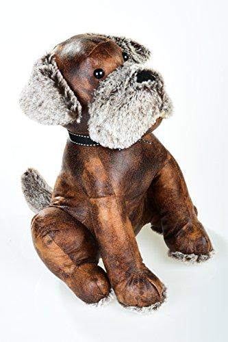 Butée de porte en cuir synthétique chien assis