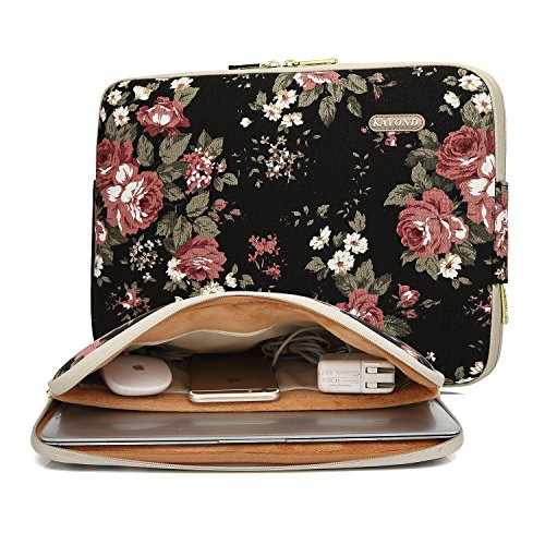 26f4f2367bf3 KAYOND Black Chinese Rose Pattern Water-resistant 12.5 inch 13 inch Canvas  laptop sleeve with pocket for 13.3 inch laptop case macbook air pro 13 ...