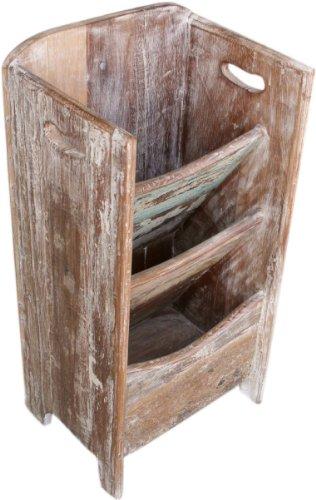Guru-Shop Zeitungsständer (JH7-365), Teakholz, 60x30x24 cm, Rustikale Regale (Regal 24 X 24 Cm)