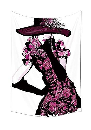 Girly Decoración Tapiz colgar en la pared moda mujer con sombrero y vestido de flores nostálgico revista pasarela Look diosa Decor dormitorio salón dormitorio decoración fucsia Negro