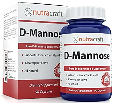 #1 D-Mannose Supplement - 1500mg per Serve To Combat Urinary Tract Infections & Support Urinary Health - 100% Pure With No Preservatives or Gluten - Made In The USA - 90 Capsules by Nutracraft