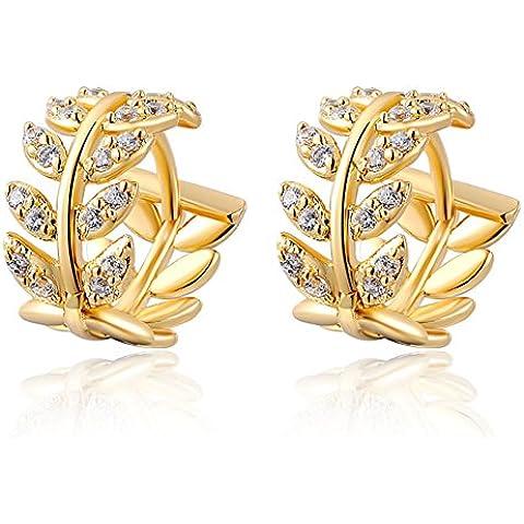 14K oro giallo da donna Swarovski Element foglie di salice orecchio Hoop