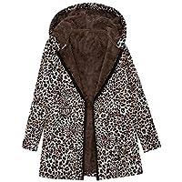 Abrigo de Invierno para Mujer, Estampado de Leopardo Outwear Abierto Abrigo De Invierno con De Lana Caliente Blusa Tops Chaqueta Sueter
