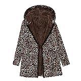 TianWlio Jacken Parka Mäntel Herbst Winter Warmer Outwear Leopard Mit Kapuze Taschen drucken Vintage Übergrößen Mäntel (5XL, Braun)