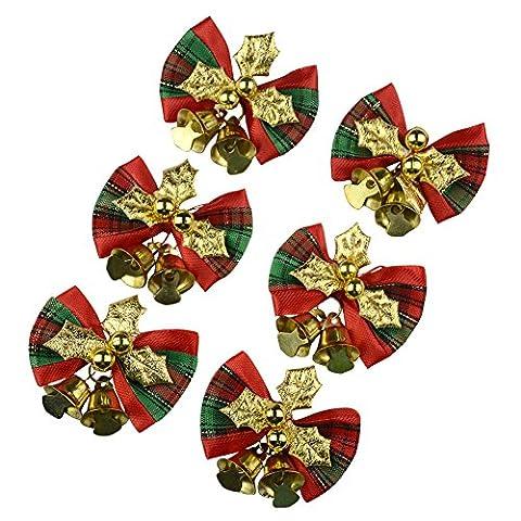 12pcs Scotland Grid Christmas Cute Bow Tree Hanging Decoration Xmas Bowknot Ornament 5CM